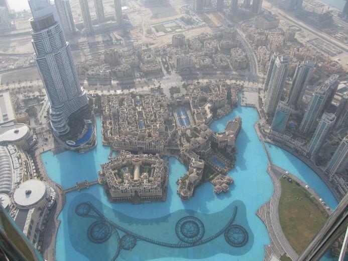 Вид на фонтан Дубай сверху